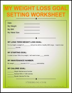 Download Your FREE 17 Day Diet Weight Loss Goal Setting Worksheet