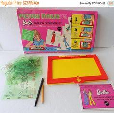On Sale Vintage 1969 Mattel Barbie Fashion Designer Set  Picture Maker With Box Draw Art  Toy Set by Craftyseller on Etsy