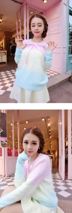 Winter new female Korean Macaron gradient sweater hedging sweater bottoming shirt female small fresh sweet - Taobao