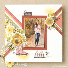 Everything about this scrapbook page is balanced and beautiful. #scrapbooking #crafting Farm Gardens, You Are My Sunshine, Layout Inspiration, Close To My Heart, Page Design, Scrapbook Pages, Bloom, Create, Paper