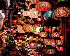 Lanterns hanging in the Grand Bazaar in Istanbul, Turkey. I just loved all the lanterns.they looked so neat. I wanted to buy one BUT there was just way too many to choose from.so I just enjoyed looking at them instead.