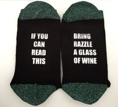 if you can read this bring mummy wine , black socks, personalised socks, chirstmas gift, prosecco, beer, coffee, wine, mum, mummy, mom, by personaliseddiamante on Etsy