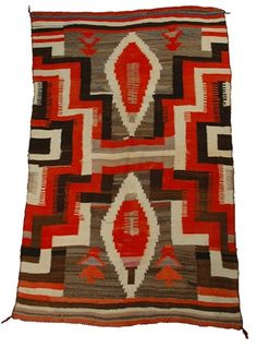 A LARGE 19TH CENTURY ANTIQUE NAVAJO AMERICAN INDIAN TRANSITIONAL BLANKET - $2500.