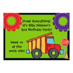 5x7 Construction Birthday customizable invitation, colorful, cute, and perfect for kids having a construction or truck theme birthday party! You can easily add your birthday party specifics to this birthday invitation before ordering. #birthday #trucks #construction #kids #childrens #customized #personalized #cute #colorful #construction #vehicle #peacockcards #parties