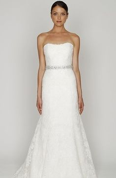 Bridal Gowns: Bliss Monique Lhuillier A-Line Wedding Dress with Strapless Neckline and Natural Waist Waistline
