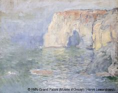 Claude Monet's painting of the Cliffs at Etretat. Title: Etretat, The Cliff, reflections on water (Circa 1885).