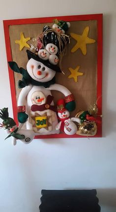 Christmas Crafts, Christmas Decorations, Christmas Ornaments, Holiday Decor, Snowman Wreath, Primitive Snowmen, Crafts For Kids, Santa, Wreaths