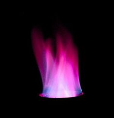 This purple fire results from heating potassium chloride and strontium chloride. - Anne Helmenstine