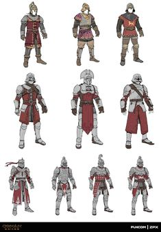 Production concepts for the two armor sets I designed for the latest Conan Exiles DLCs. Khari armor set, based on the Stygian civilization from the Conan lore. Poitain armor set, civilization roughly based on medieval France with some Greco-Roman Fantasy Concept Art, Fantasy Armor, Fantasy Weapons, Fantasy Character Design, Character Design Inspiration, Character Concept, Character Art, Armadura Medieval, Medieval Armor