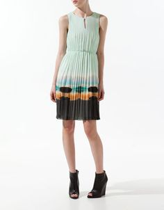 Zara pleated print dress