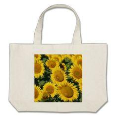Beautiful Field of Sunflowers Large Tote Bag - beautiful gift idea present diy cyo