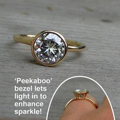 Forever Brilliant moissanite and recycled 14k yellow gold ring with 'peekaboo' hybrid bezel