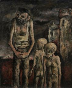 Josl Bergner Father and Sons oil on composition board 47 x 38 cm Rembrandt Self Portrait, Modern Art, Contemporary Art, Art Society, Australian Art, Aboriginal Art, French Artists, Horror Art, Art And Architecture