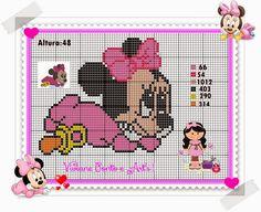 Minnie Mouse x-stitch Cross Stitch For Kids, Cross Stitch Heart, Cross Stitch Flowers, Disney Stitch, Minnie Baby, Baby Disney, Cross Stitch Bookmarks, Cross Stitch Alphabet, Mickey Mouse And Friends