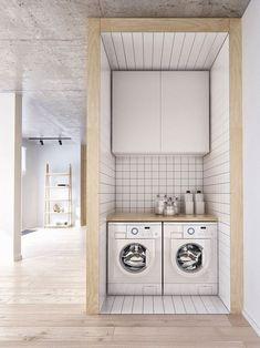 Confira ideias para esse ambiente ser bonito, organizado e funcional.  Para utilizar bem o espaço a lavanderia foi instalada em um nicho. Confira no link! #lavanderia #laundryrooms #decor #decoração #decoration #decoración #casavogue