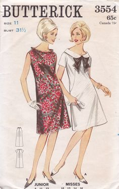 Vintage Maternity Sewing Pattern Butterick 3554 From 1965-date estimated Size 11 Bust 31 1/2 9 Pattern Pieces One piece maternity dress Semi-fitted, A-line maternity dress with shallow neckline.(A) Short sleeves, rounded roll collar, contrast ribbon bow. (B) Sleeveless, self ruffle at