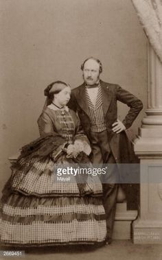 Carte-de-visite photograph of Queen Victoria and Prince Albert, Prince Consort They are both standing, she wears a tartan and checked dress with fringed shawl, the Prince standing slightly behind her. Queen Victoria Family, Victoria Reign, Queen Victoria Prince Albert, Victoria And Albert, Royal Queen, King Queen, Elizabeth Ii, Albert Prince Consort, Reine Victoria
