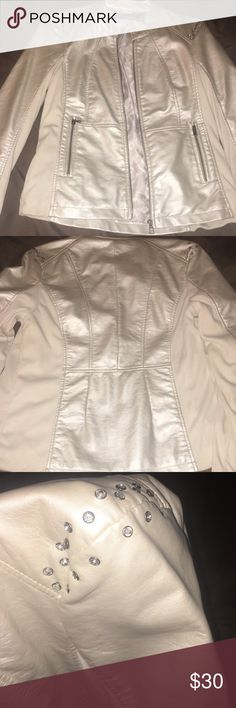Diamond studded jacket from the Buckle Super cute cream colored diamond studded zip up jacket. Looks and feels like leather. All the diamonds are still in tact. Looks cute with jeans and good for any occasion. Never worn just removed the tag and can't return. :) Daytrip Jackets & Coats
