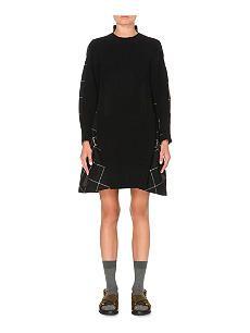 SACAI Checked wool dress