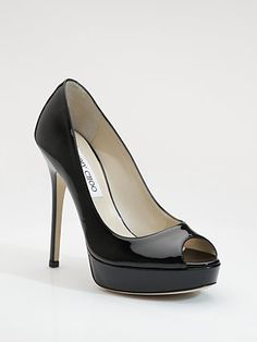 Jimmy Choo - Crown Patent Leather Peep-Toe Pumps - Saks.com