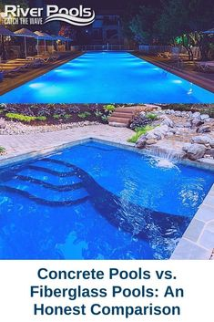 Torn between a fiberglass and concrete inground pool? Here's an extensive guide that walks you through the key differences between these two inground pool types! #ingroundpool #swimmingpool #fiberglasspool Fiberglass Swimming Pools, Gunite Pool, Concrete Pool, Building A Pool, Small Backyard Pools, Hot Tubs, In Ground Pools, Pool Ideas, Highlands