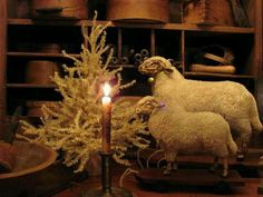 Prim Christmas...sheep, twiggy pine tree & candle.