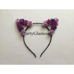 Purple Rose Cat Ears Headband, Floral Cat Ears, Flower Cat Ears,... ($17) ❤ liked on Polyvore featuring accessories, hair accessories, purple garland, flower crown headwrap, purple flower crown, floral headband and rose flower crown