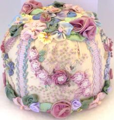 Picture and materials only. silk ribbon embroidery  and ribbon worked flower pin cushion