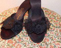 f514da5282c Daniel Green Black Satin Slipper Pumps Heels Rosette Boudoir Mules Open-Toe  Slippers Stiletto Heels