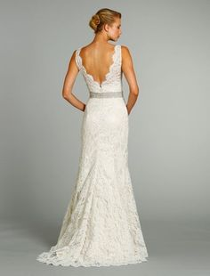 Bridal Gowns: Jim Hjelm Sheath Wedding Dress with V-Neck Neckline and Natural Waist Waistline