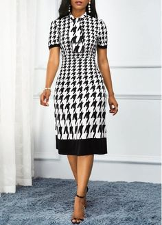 Black And White Houndstooth Print Dress Work Dress Tie Neck Houndstooth Print High Waist Dress Plus Size Dresses, Dresses For Work, Spring Dresses, Teen Dresses, Midi Dresses, Club Dresses, Look Fashion, Womens Fashion, Houndstooth Dress
