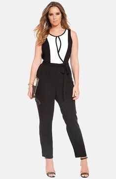 Free shipping and returns on ELOQUII Colorblock Jumpsuit (Plus Size) at Nordstrom.com. A sleeveless jumpsuit cut from soft georgette offers day-into-night polish in always-chic black and white. The faux-wrap bodice and pleat-top pant gather to a partially elasticized waist wrapped with a removable sash.