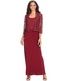 Patra Dress and Jacket, Sleeveless Glitter Lace Gown