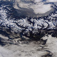 """The #EuropeanAlps. It is amazing to see the history of water in their design."" #AstroButch  Photo credit Barry Wilmore:  131A9488  #nasa #nasajsc #spacestation #internationalspacestation #explore #exploration #photography #ISS #Exp42 #cupola #geography #EarthArt #snow #European #Alps #Mountains #tendrils #amazing #design #history #water"