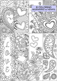 8  Coloring Bookmarks with hearts #heart #coloring #bookmarks