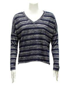 Ladies Blue V-Neck Striped Long Sleeve Top FineBrandShop. $18.50