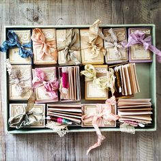 pretty packaging - love the pastel ribbons Altered Books, Altered Art, Brown Paper Packages, Paper Crafts, Diy Crafts, Pretty Packaging, Packaging Ideas, Handmade Books, Haberdashery