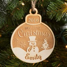 Remember their first Christmas with our personalized wood ornament.
