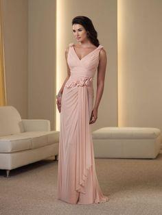 Sheath/Column V-neck Sleeveless Hand Made Flower Floor-Length Chiffon Dress