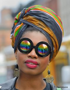 Fanm Djanm headwrap with funky vintage glasses.