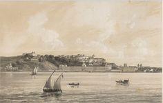 Pintura de Louis-Julien Jacottet, 1861.  Em primeiro plano a Santa Casa. Atrás o Morro do Castelo com o Colégio dos  Jesuítas e mais à esquerda as 2 torres da Igreja de São Sebastião. Na praia, vê-se, na praia à esquerda, a Igreja de Santa Luzia, que costeia a praia, antes do aterro.