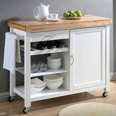 Denver White Modern Kitchen Cart   Overstock.com Shopping - The Best Deals on Kitchen Carts