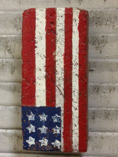 Americana salvaged brick doorstop Painted Bricks Crafts, Brick Crafts, Painted Pavers, Painted Rocks, Patriotic Crafts, Patriotic Decorations, Blue Crafts, Arts And Crafts, Brick Pavers