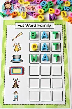 Sight Words and Word Families – In My World CVC at Word Family word building activity FREE Kindergarten Language Arts, Kindergarten Centers, Kindergarten Reading, Preschool Learning, Teaching Reading, Phonics Centers, Kindergarten Sight Words, 1st Grade Centers, Learning Sight Words