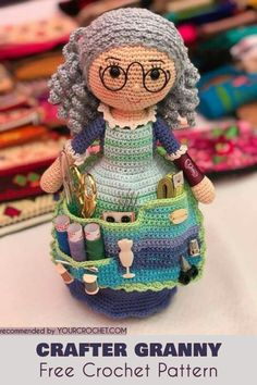 Are you looking for a perfect hook organizer? The Amigurami Granny Doll is everything you need for organizing your craft tools. It is a scissors pocket, pin cushion and hook divider all in one... plus it has a bunch more useful nooks and crannies. Hook Orgnizers Ideas and Free Pattern - Crafter Granny #freecrochetpatterns #amigurumidoll #crochetdoll #hookorganizer #hookholdercase #craftergranny