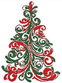 Christmas Tree Color Swirl Easy Cross Stitch Pattern | eBay