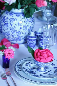 Hot Pink Rosette Napkins were featured on a StoneGable tablescape this earlier this week. They added a big punch of color and a little extra surprise to my Mikasa Indigo Bloom T