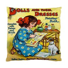 Children's Victorian Dolls And Their Dresses Accent Satin Cushion Cover | Bling Jewellery by Janine Antulov | madeit.com.au