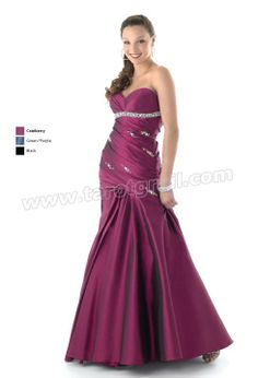 Cranberry Mermaid Strapless Sweetheart Floor Length Satin Prom Dress With Sequins and Drapes