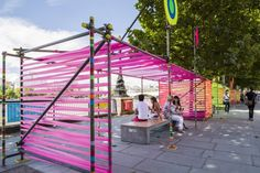 Built by Morag Myerscough ,Luke Morgan in London, United Kingdom with date Images by Gareth Gardner. The Temple of Agape, a temporary installation created by Morag Myerscough and Luke Morgan commissioned by the Southba. Temporary Architecture, Landscape Architecture, Landscape Design, Garden Design, Urban Furniture, Street Furniture, Poket Park, Shade Structure, Public Art